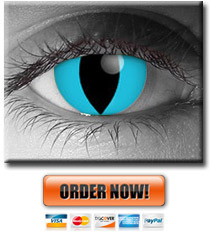 Blue Cheshire cat contact lenses